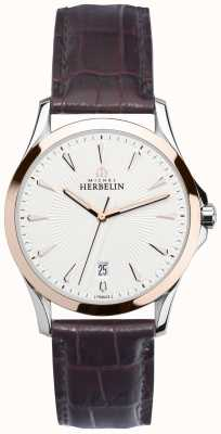 Michel Herbelin Mens Lyre Steel & Rose Gold, Leather Watch 12213/TR12MA