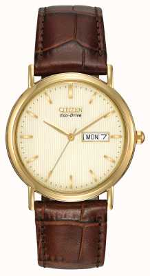 Citizen Mens Brown Strap Champagne dial watch BM8242-08P