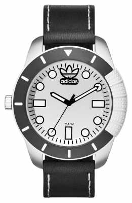 adidas Originals 1969 Silver Dial Black Leather Strap ADH3037