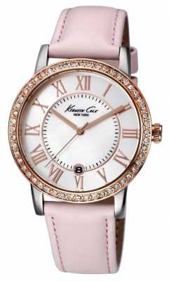 Kenneth Cole Womens Pink Leather Strap White Dial KC2845