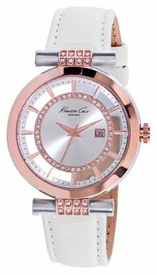 Kenneth Cole Womens White Leather Strap Silver Dial KC10021107
