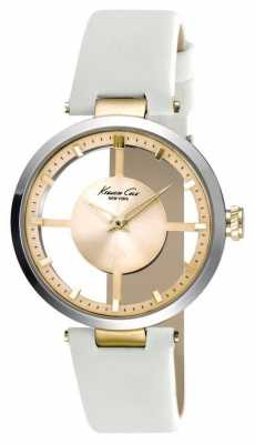 Kenneth Cole Womens White Leather Strap Gold Dial KC10022539