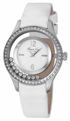 Kenneth Cole Womens White Leather Strap Silver Dial KC2881