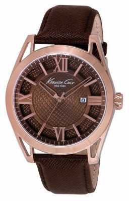 Kenneth Cole Mens Brown Leather Strap Brown Dial KC8073