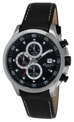 Kenneth Cole Mens Black Leather Strap Chronograph KC8093