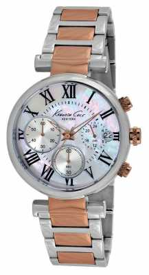 Kenneth Cole Womens Two Tone Mother Of Pearl Dial Chrono KC4970