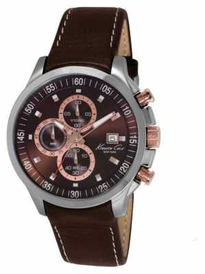 Kenneth Cole Mens Brown Leather Strap Chronograph KC8094