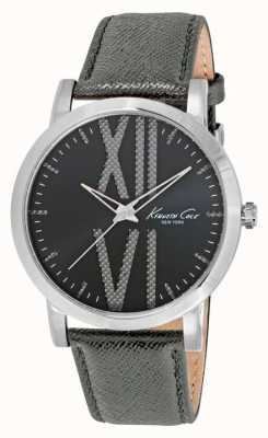 Kenneth Cole Mens Grey Leather Strap Grey Dial KC10014816