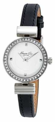 Kenneth Cole Womens Black Leather Strap White Dial KC10024859