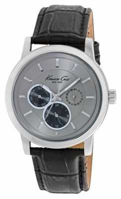 Kenneth Cole Mens Black Leather Strap Grey Dial KC10019562