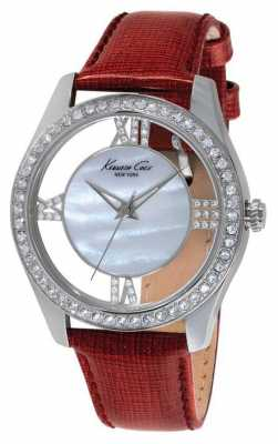Kenneth Cole Womens Red Leather Strap Silver Dial KC2873