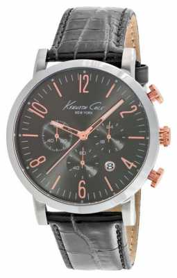 Kenneth Cole Mens Black Leather Strap Grey Dial KC10020825