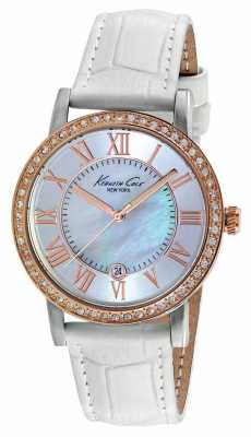 Kenneth Cole Womens White Leather Strap Mother Of Pearl KC2836