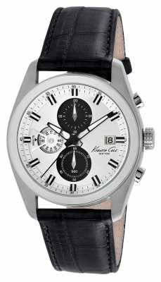 Kenneth Cole Mens Black Leather Strap Silver Dial KC8041