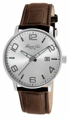 Kenneth Cole Mens Brown Leather Strap Silver Dial KC8006