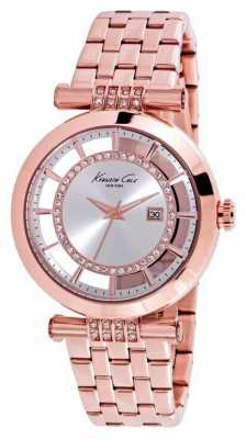 Kenneth Cole Womens Rose Gold PVD Plated Silver Dial KC10021106