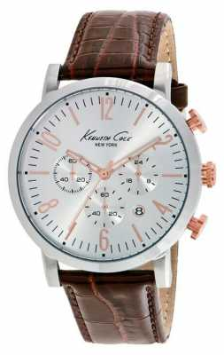 Kenneth Cole Mens Brown Leather Strap Silver Dial KC10020827