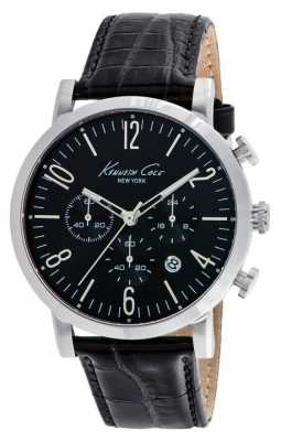 Kenneth Cole Mens Black Leather Strap Black Dial KC10020826