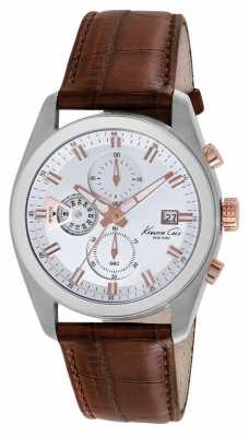 Kenneth Cole Mens Brown Leather Strap Chronograph KC8042