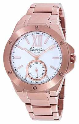 Kenneth Cole Womens Rose Gold PVD Plated White Dial KC10020842