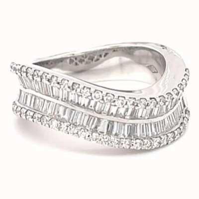 18k White Gold Wave Sty Bagette Diamond Ring JM4539