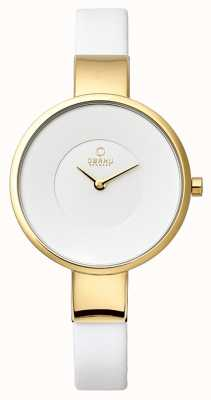Obaku Womens White Leather Strap PVD Gold Plate V149LXGIRW
