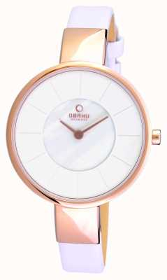 Obaku Womens White Leather Strap PVD Rose Gold Case V149LXVWRW