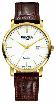Roamer Mens Classic LineBrown Leather PVD Case 709856482507
