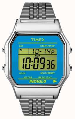 Timex 80 Unisex Silver Mesh Band Digital Blue TW2P65200