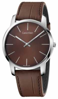 Calvin Klein Mens City Brown Leather Strap And Dial K2G211GK
