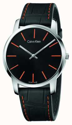 Calvin Klein Mens City Black Leather Strap Black Dial K2G211C1