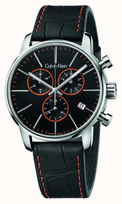 Calvin Klein Mens City, Black, Orange, Leather Chrono K2G271C1