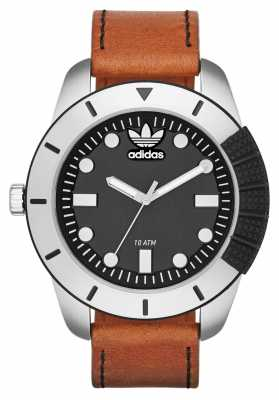 adidas Originals Mens 1969 Brown Leather Black Dial ADH3038