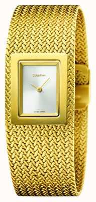 Calvin Klein Womens Mesh Pvd Gold Silver Dial K5L13536