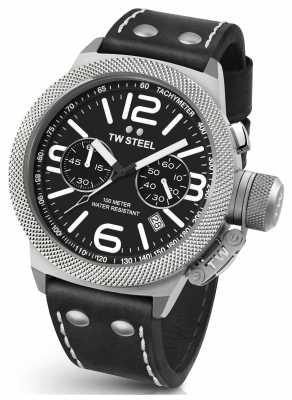 TW Steel Mens Canteen 45mm Chrono Black Leather Strap CS3