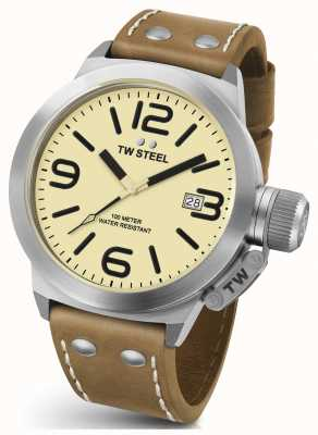 TW Steel Mens Canteen 50mm Brown Leather Strap CS12