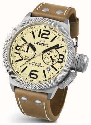 TW Steel Mens Canteen 45mm Chrono Brown Leather Strap CS13