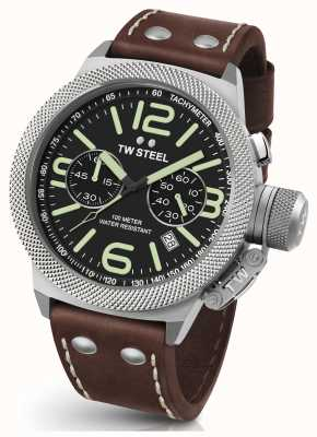TW Steel Mens Canteen 45mm Chrono Brown Leather Strap CS23