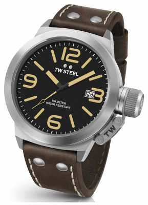 TW Steel Mens Canteen 50mm Brown Leather Strap CS32