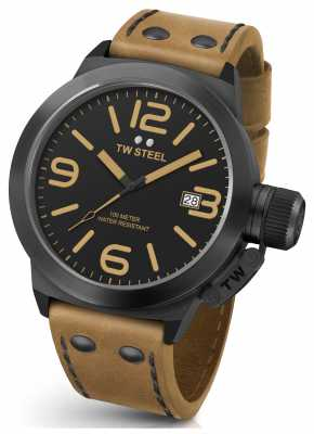 TW Steel Mens Canteen 50mm Brown Leather Strap CS42