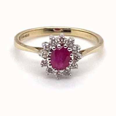 9k Yellow Gold 0.21ct Diamond Ruby Ring JM2768