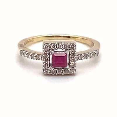 9k Yellow Gold Diamond Ruby Ring JM6353