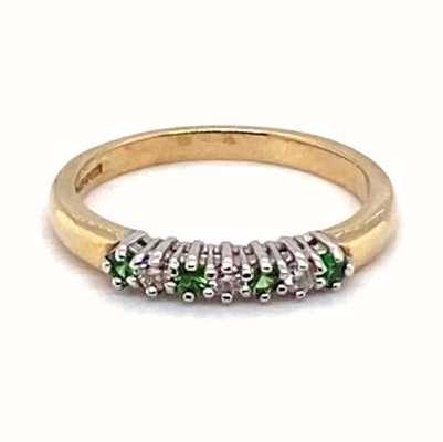 9k Yellow Gold Emerald Diamond Ring JM9505