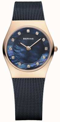Bering Womens Rose Gold, Blue Pearl, Crystal 11927-367