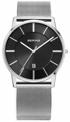Bering Mens Stainless Steel Mesh Strap Black Dial 13139-002