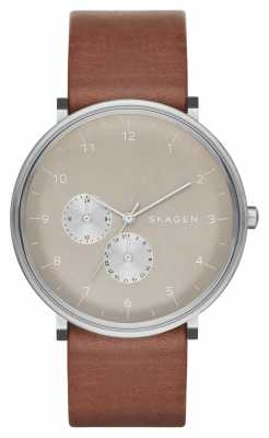 Skagen Mens Hald Refined Cream Dial Brown Leather SKW6168