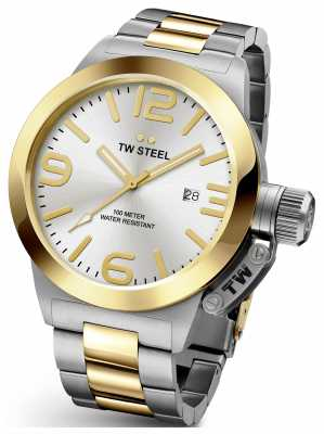 TW Steel Mens Canteen 45mm Two Tone Silver Dial CB31