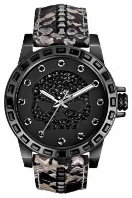 Harley Davidson Womens Black Crystal Skull Watch 78L116
