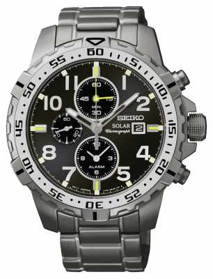 Seiko Mens Black Dial, Solar Power Chronograph SSC307P9