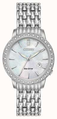 Citizen Womens Silhouette Diamond Stainless Steel Pearl Dial EW2280-58D
